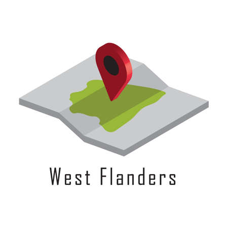 west flanders paper map with map pointer.