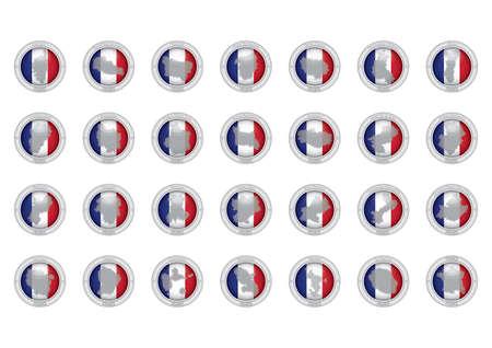 フランスの州アイコンのセット