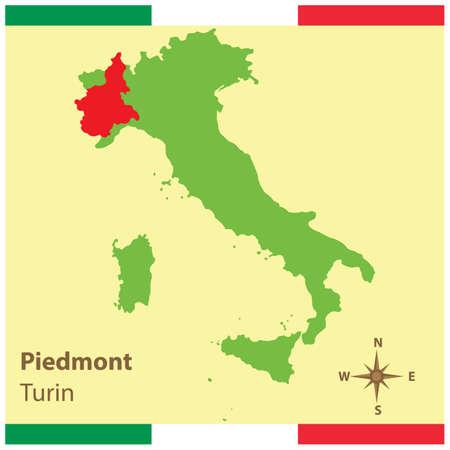 ピエモンテ イタリア地図  イラスト・ベクター素材