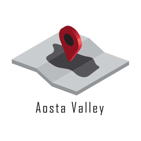 aosta valley map with map pointer Illusztráció