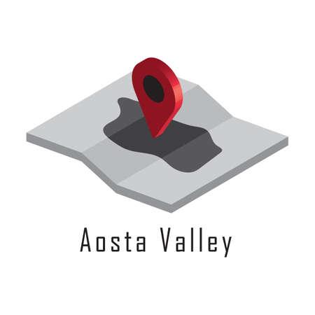 Carte de la vallée d'Aoste avec pointeur de carte Banque d'images - 81590225