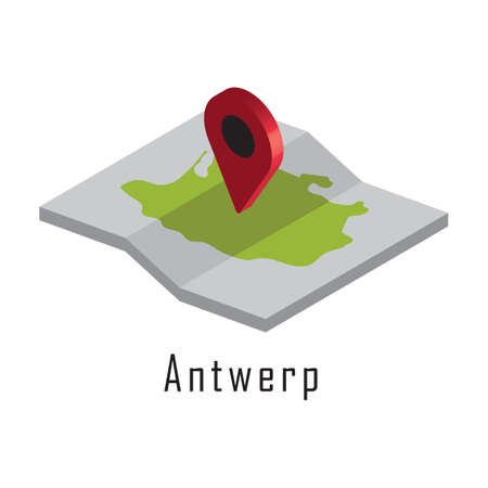 antwerp paper map with map pointer