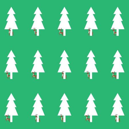 reindeers with pine tree background Illusztráció