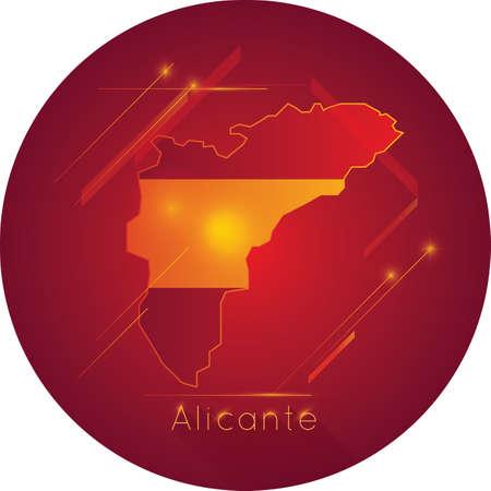 Kaart van Alicante Stock Illustratie