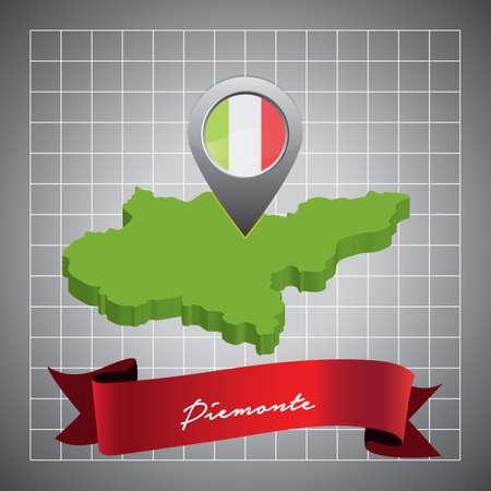 piemonte map with map pointer Banco de Imagens - 81590226