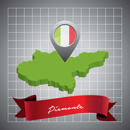 piemonte map with map pointer Illustration
