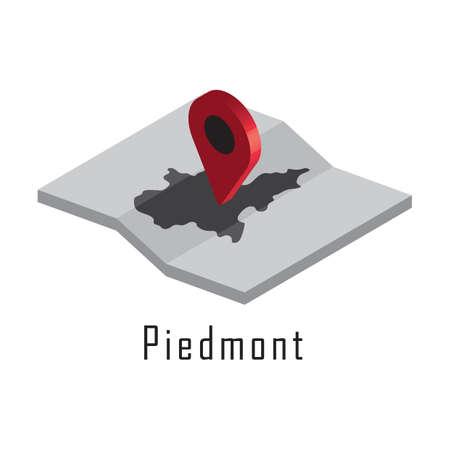 piedmont map with map pointer Illusztráció