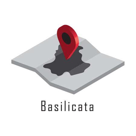 지도 포인터가있는 basilicata지도