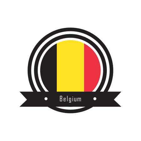 belguim flag label  イラスト・ベクター素材