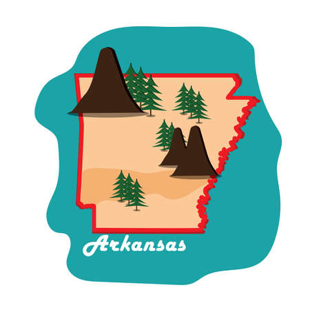 arkansas state map with mountains Illustration