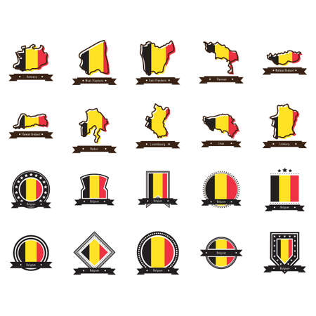 set of belgium state maps and labels Illustration