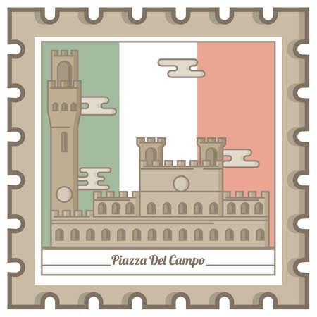 piazza del campo postal stamp