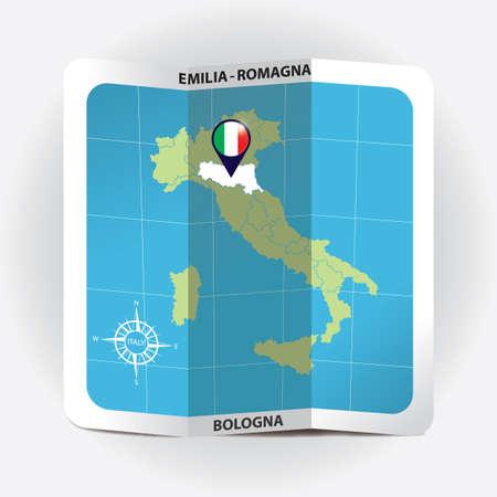 Puntero del mapa que indica emilia-romagna en el mapa de italia Foto de archivo - 81601230