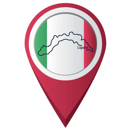 Map pointer with liguria map 版權商用圖片 - 81601231