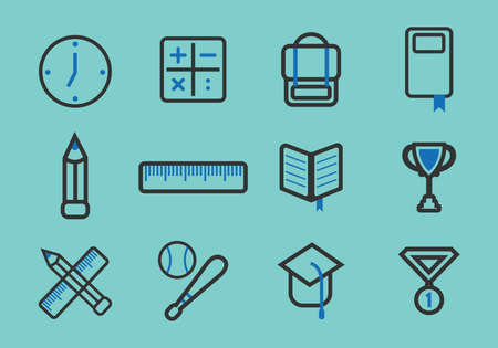 collection of school icons Иллюстрация