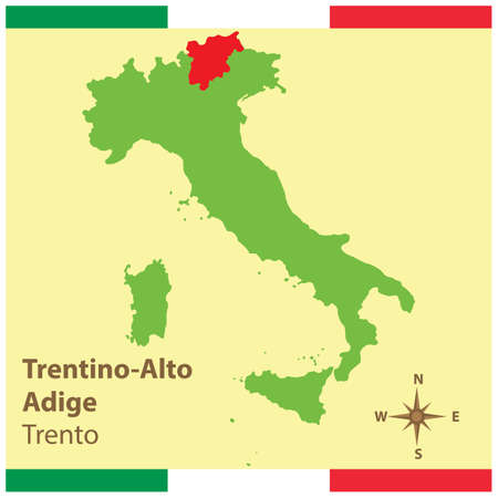 trentino-alto adige on italy map Stock Vector - 81590235