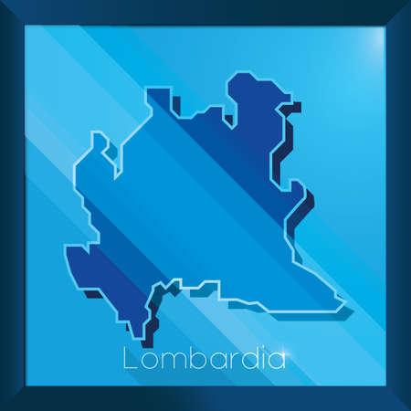 Mappa di lombardia Vettoriali