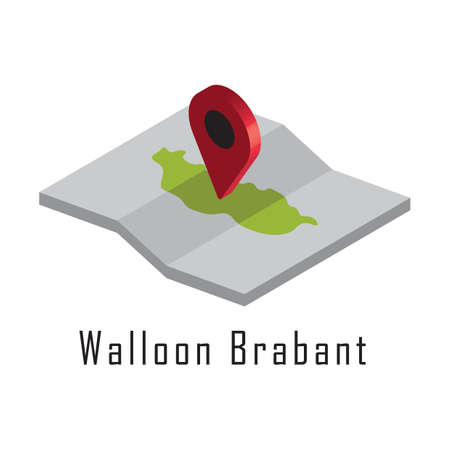 walloon brabant paper map with map pointer Illustration