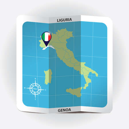 Map pointer indicating liguria on italy map