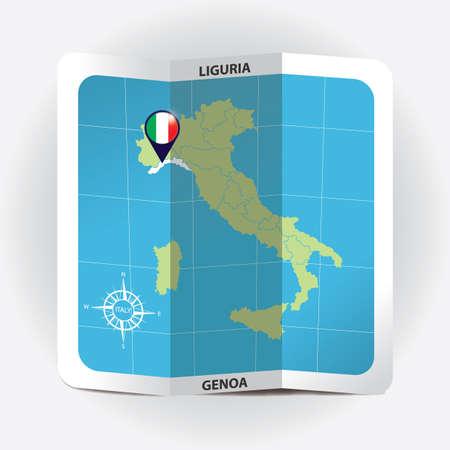 Puntero del mapa que indica liguria en el mapa de italia Foto de archivo - 81601246