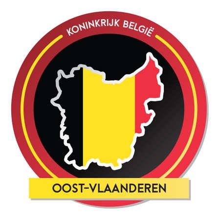 oost-vlaanderen map sticker Ilustração