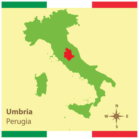 umbria on italy map Ilustrace