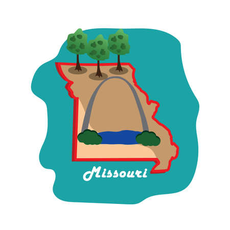 missouri state map with st louis gateway arch 向量圖像