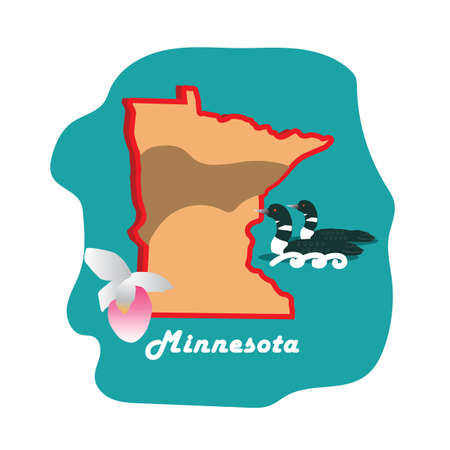 minnesota state map with common loon and slipper