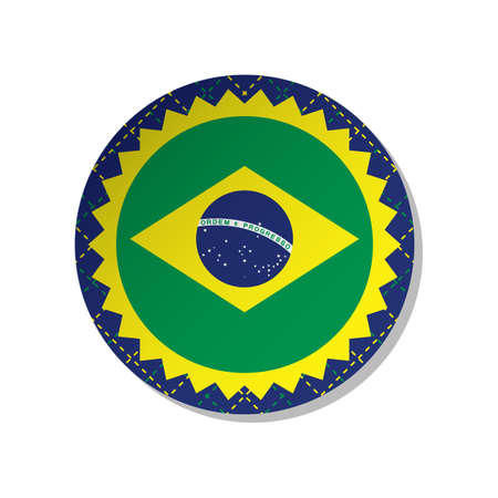 brazil flag label Banque d'images - 106669388