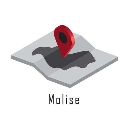 molise map with map pointer Illusztráció