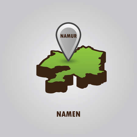 Map pointer indicating namur on namen map Ilustração