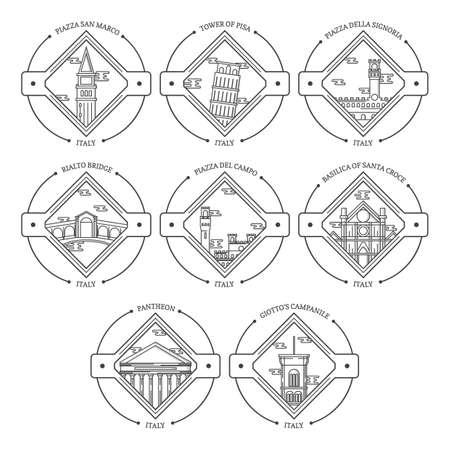 set of italy landmarks