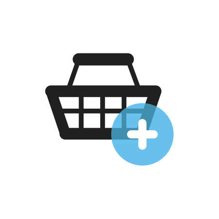 shopping basket with plus symbol