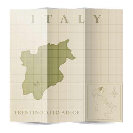 トレンティーノ ・ アルト ・ アディジェ州紙の地図