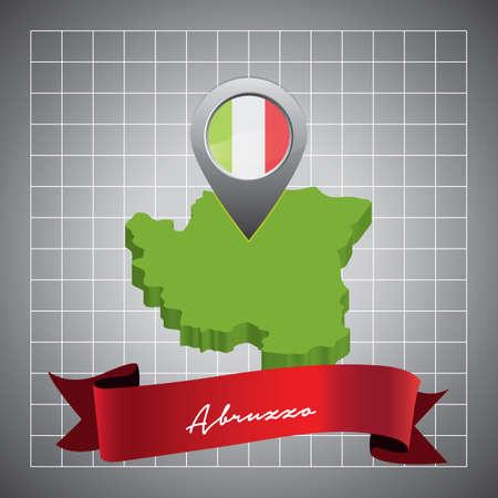 abruzzo map with map pointer Ilustração