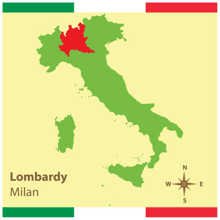lombardy on italy map Vettoriali