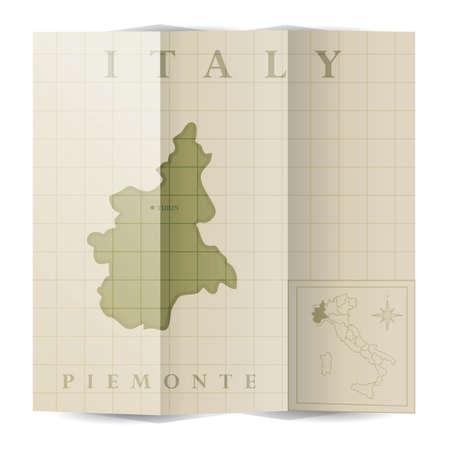 Piemonte paper map