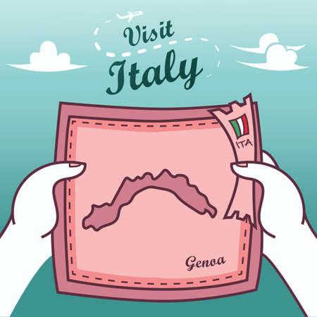 Hands holding genoa paper map Illustration