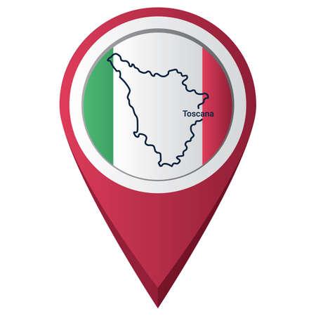 Puntero de mapa con mapa toscana Foto de archivo - 81601257
