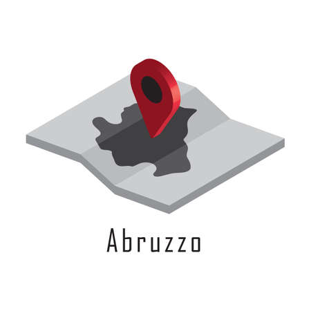 abruzzo map with map pointer Illustration