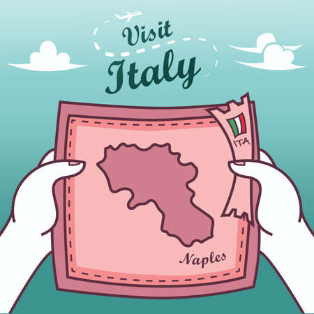 Hands holding naples paper map Illustration