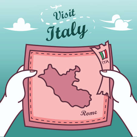 hands holding rome paper map Stok Fotoğraf - 82007302