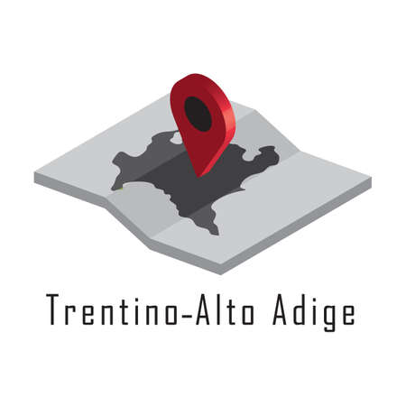 trentino-alto adige map with map pointer Illustration