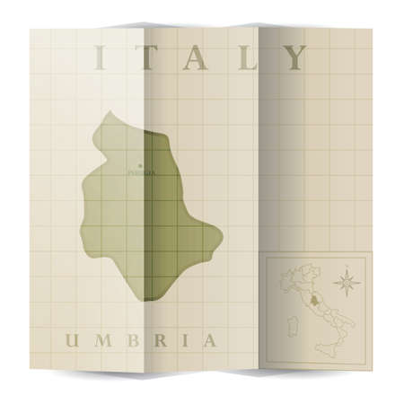 ウンブリア州紙の地図  イラスト・ベクター素材