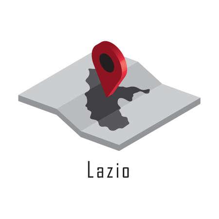 Lazio kaart met kaartaanwijzer Stock Illustratie