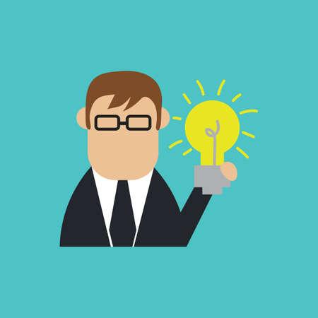 businessman with bulb