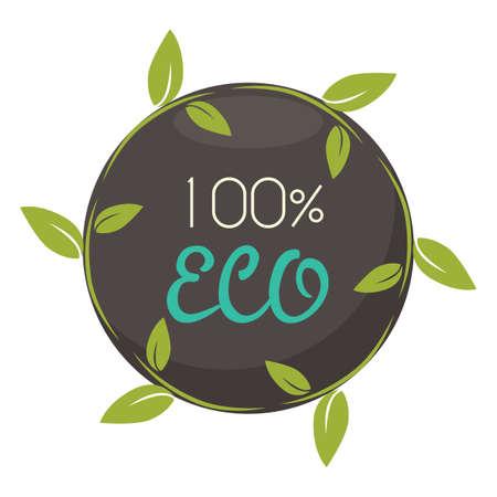 hundred percent eco label Иллюстрация