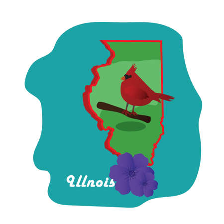 illinois state map with northern cardinal