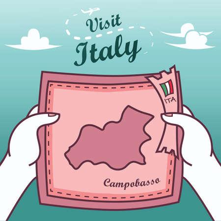 Handen met campobasso papieren kaart Stock Illustratie