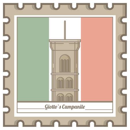 giotto's campanile postal stamp Фото со стока - 81590174